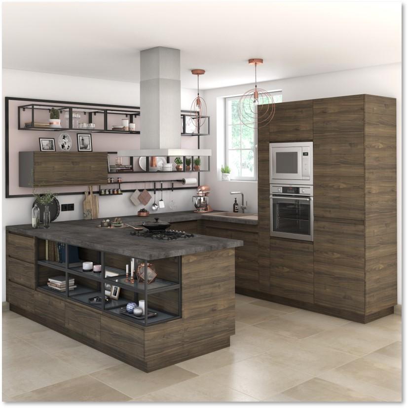 Delinia Tokyo Walnut Designer Kitchen - Example 1