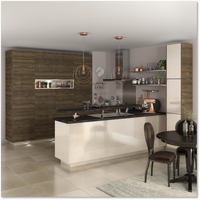 Delinia Tokyo Walnut Designer Kitchen - Example 2