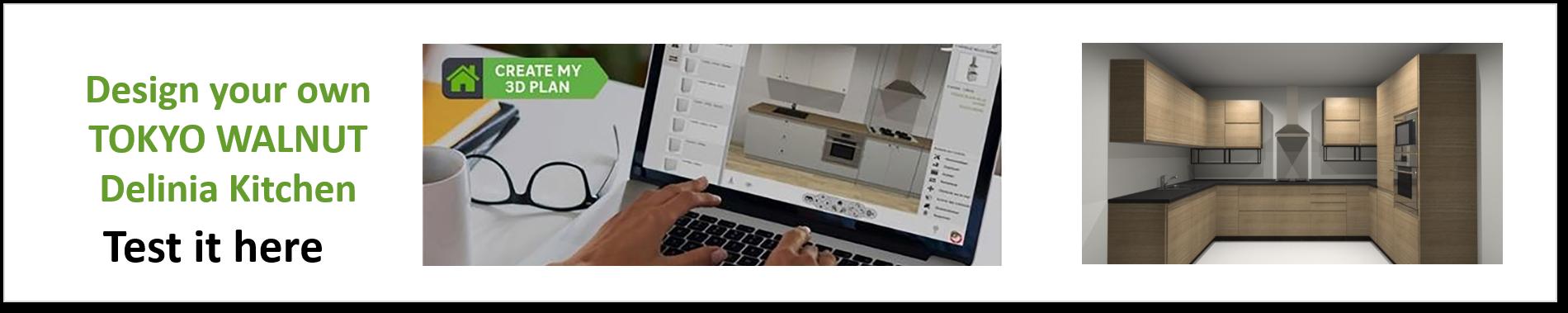 Create or Design your own Delinia Tokyo Walnut Designer Kitchen
