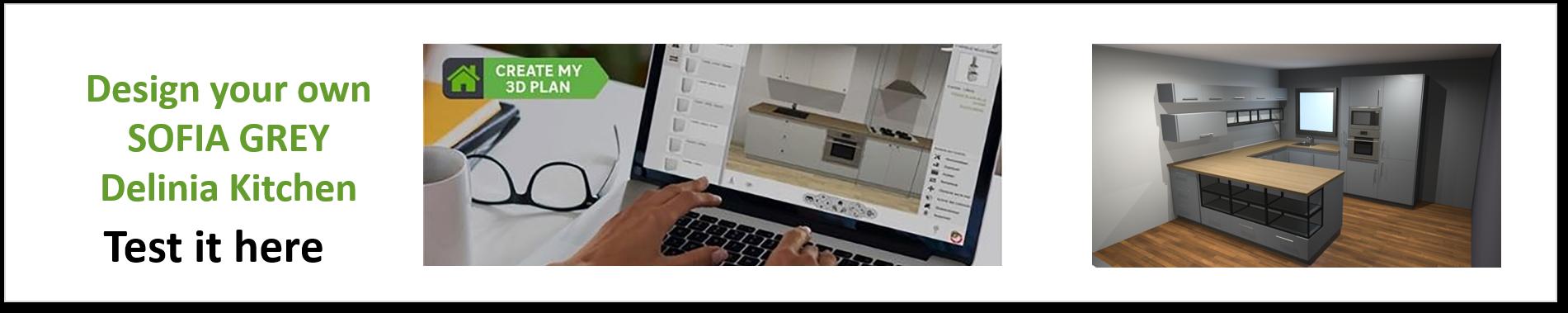 Create or Design your own Delinia Sofia Grey Designer Kitchen