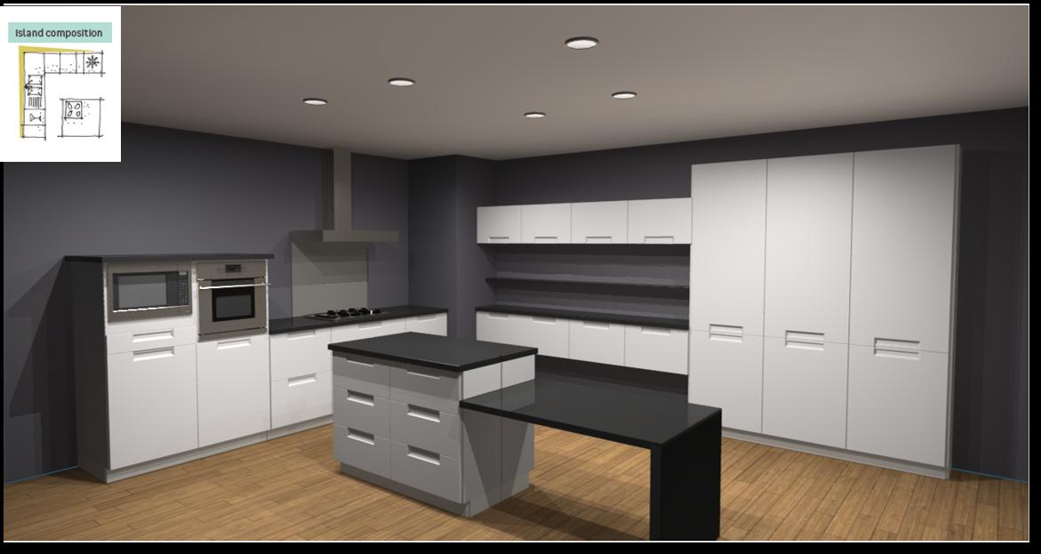 Evora White Inspirational kitchen layout examples - Example 6
