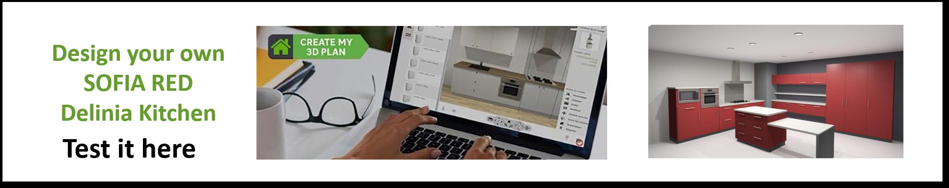 Create or Design your own Delinia Sofia Red Designer Kitchen