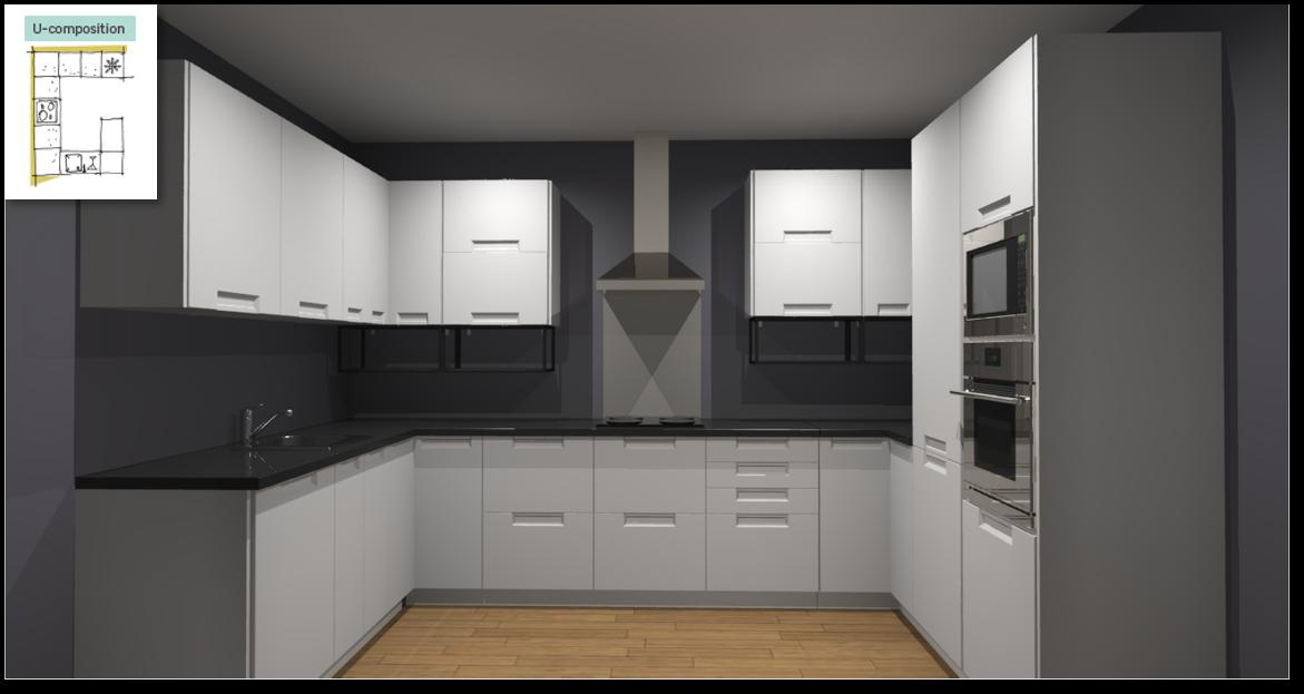 Evora White Inspirational kitchen layout examples - Example 4