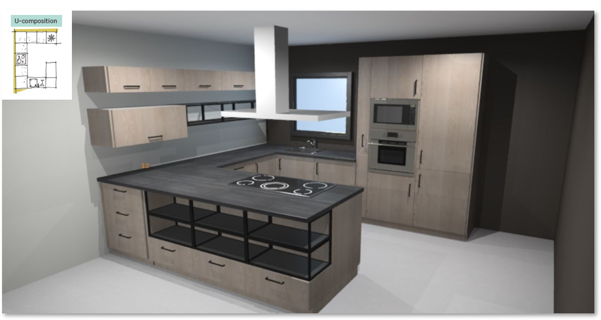 Nordik Inspirational kitchen layout examples - Example 3