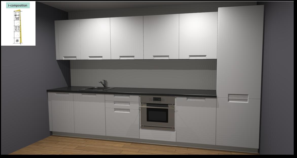 Evora White Inspirational kitchen layout examples - Example 1