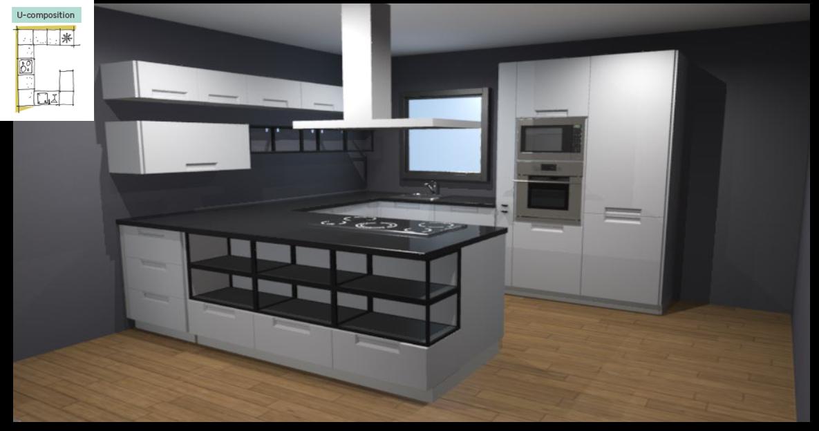 Evora White Inspirational kitchen layout examples - Example 3