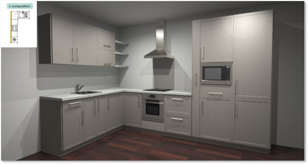 Newport Taupe Inspirational kitchen layout examples - Example 2