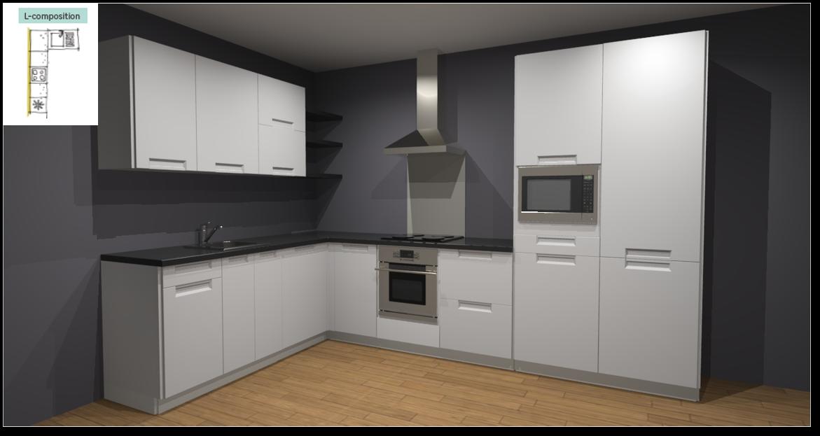 Evora White Inspirational kitchen layout examples - Example 2