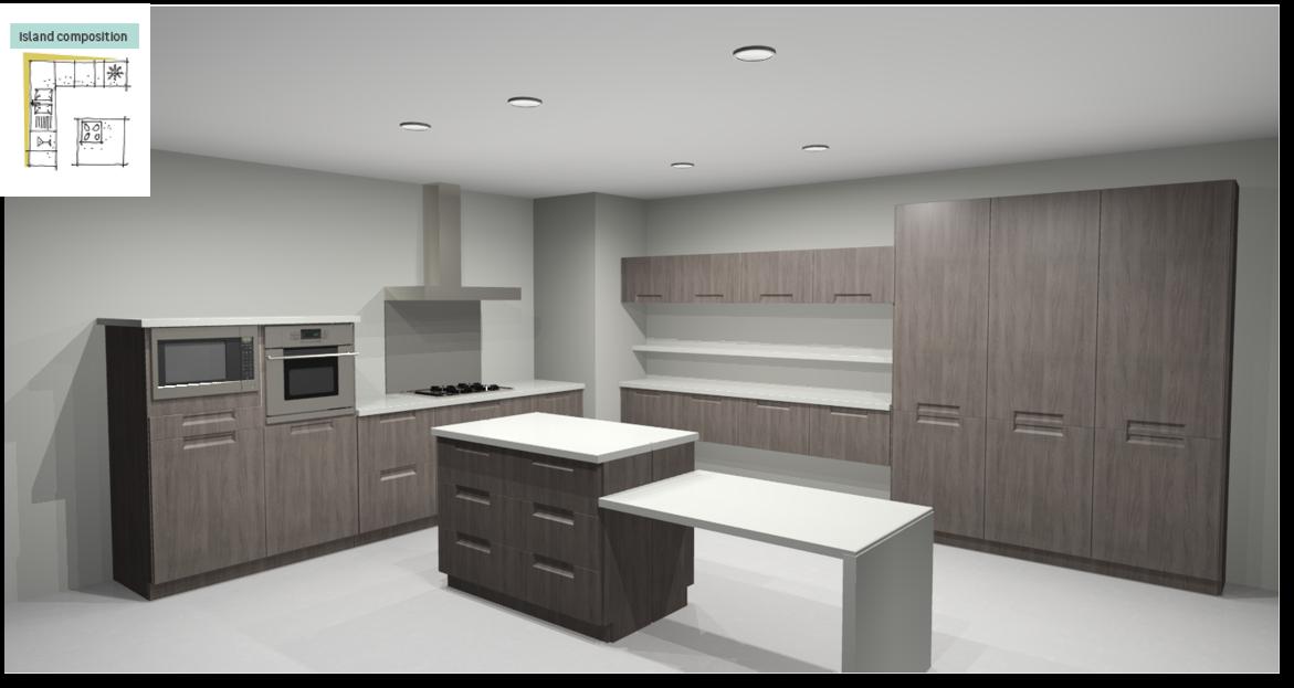 Evora Oak Inspirational kitchen layout examples - Example 6