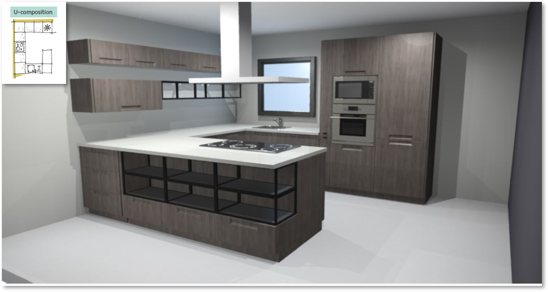 Evora Oak Inspirational kitchen layout examples - Example 3