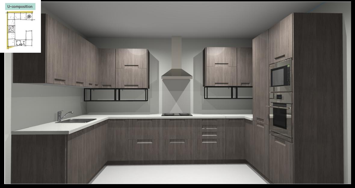Evora Oak Inspirational kitchen layout examples - Example 4