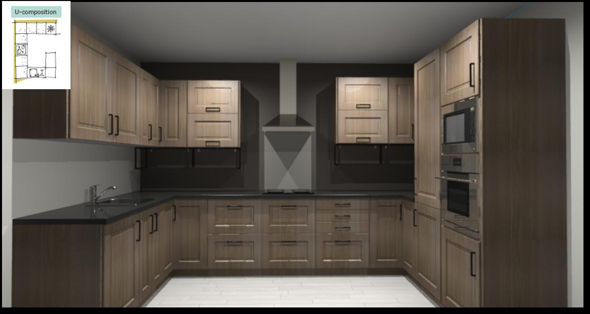 Prague Inspirational kitchen layout examples - Example 4