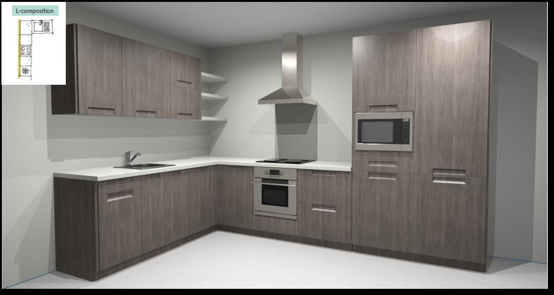 Evora Oak Inspirational kitchen layout examples - Example 2