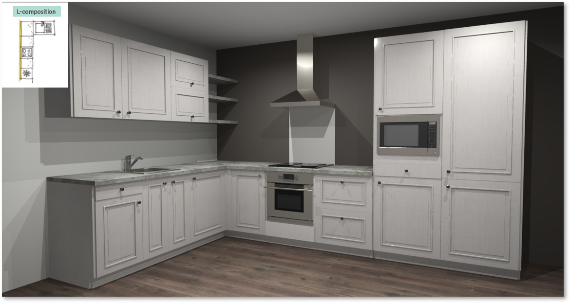 Moscow Inspirational kitchen layout examples - Example 2