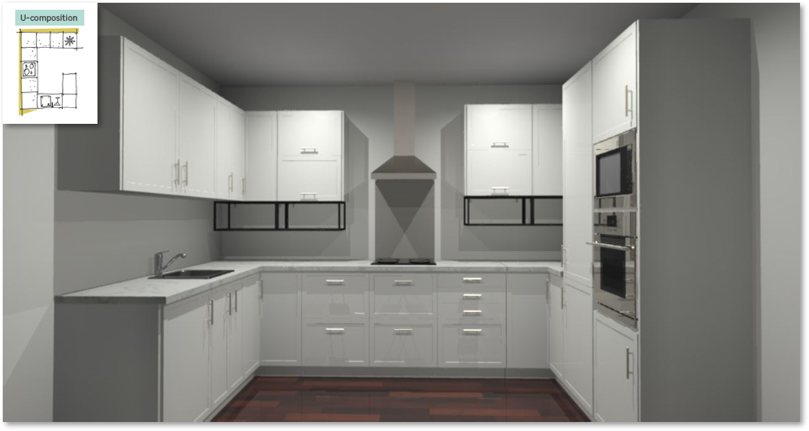 Newport White Inspirational kitchen layout examples - Example 4