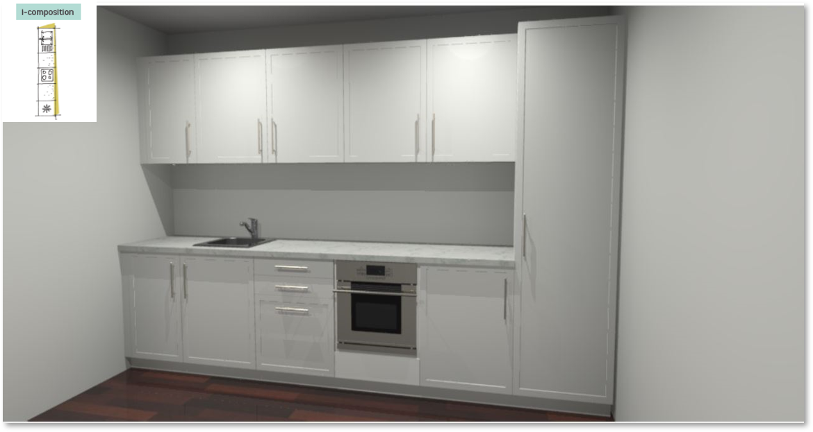 Newport White Inspirational kitchen layout examples - Example 1