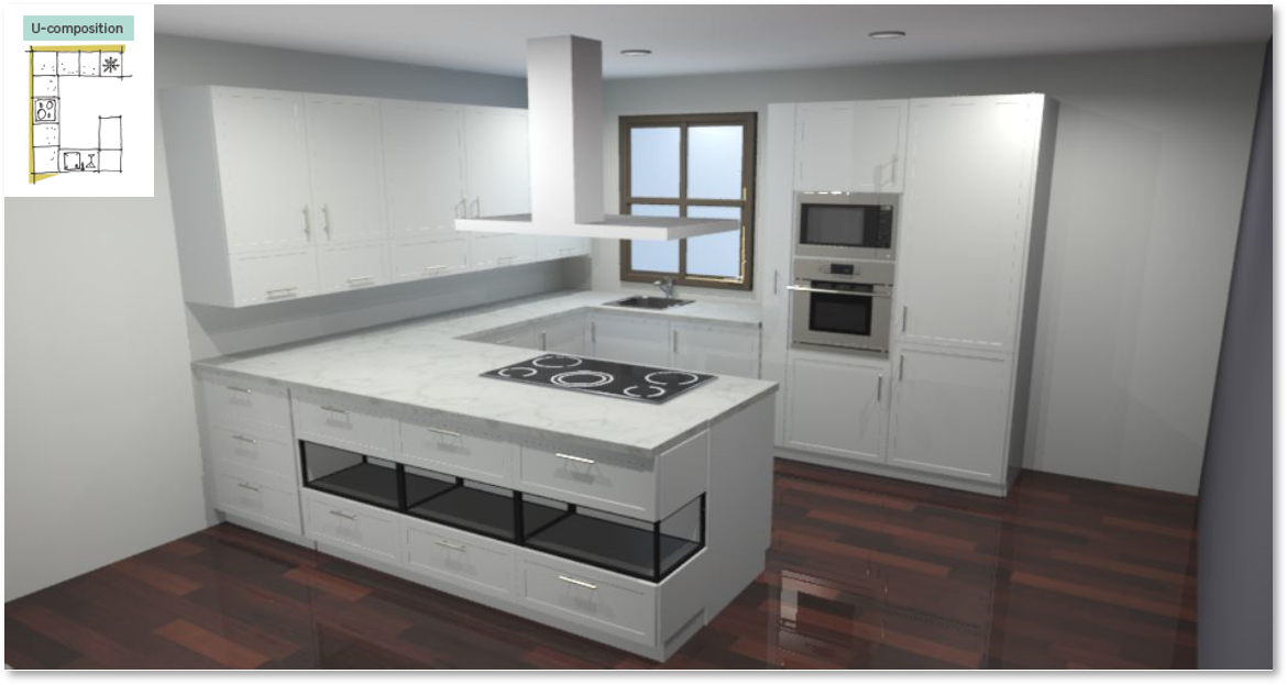 Newport White Inspirational kitchen layout examples - Example 3