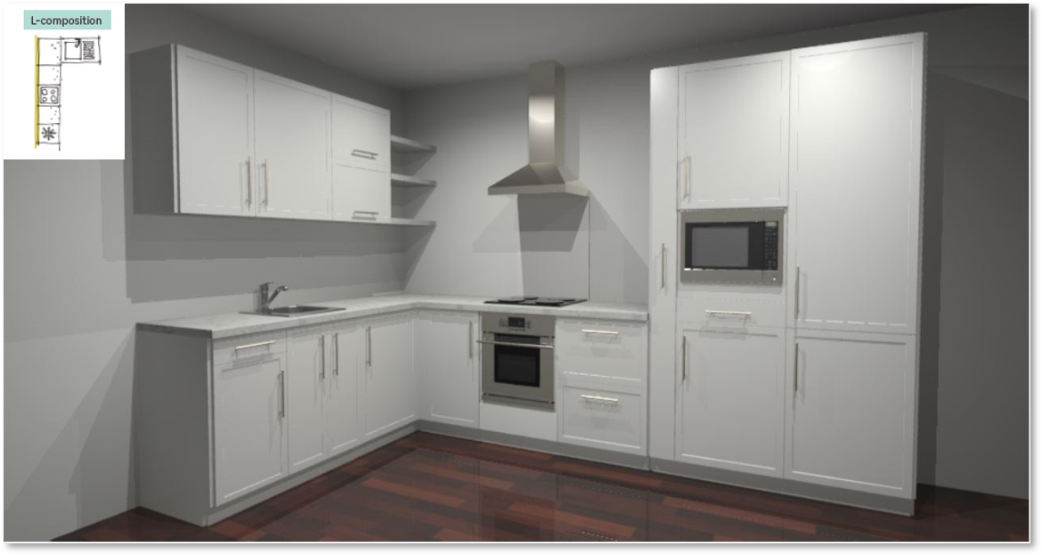 Newport White Inspirational kitchen layout examples - Example 2