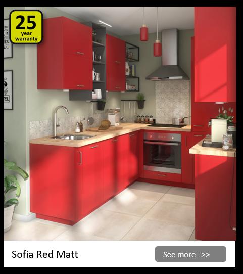 Explore the Delinia Sophia Red kitchen range. Be inspired.