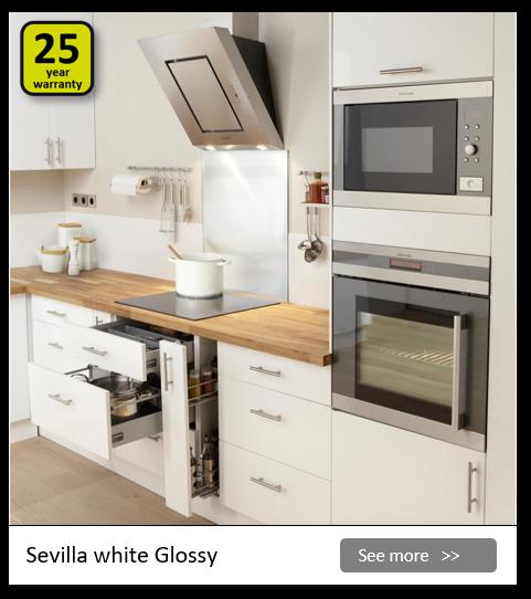 Explore the Delinia Sevilla White kitchen range. Be inspired.