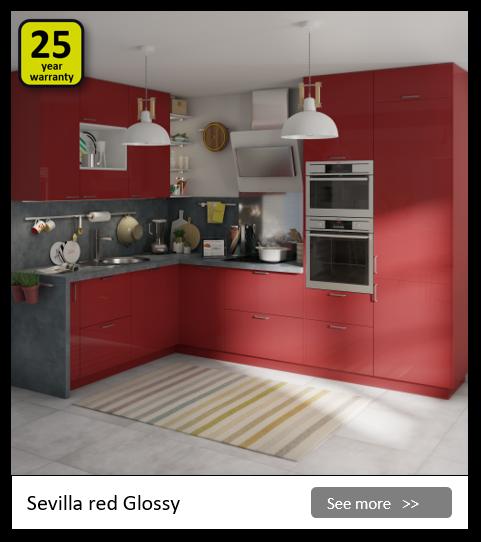Explore the Delinia Sevilla Red kitchen range. Be inspired.