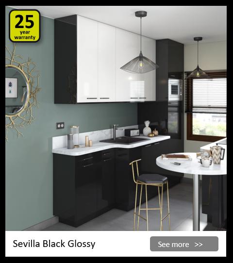 Explore the Delinia Sevilla Black kitchen range. Be inspired.