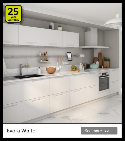Explore the Delinia Evora White kitchen range. Be inspired.