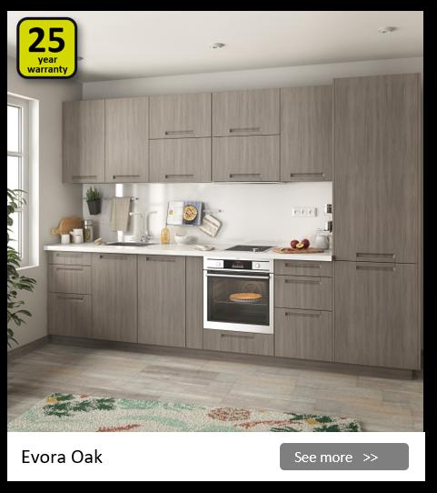 Explore the Delinia Evora Oak kitchen range. Be inspired.