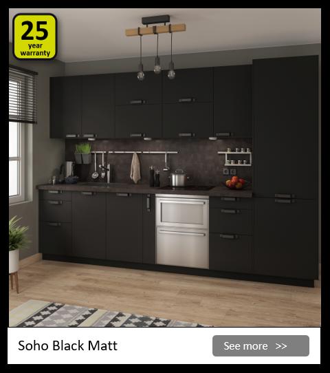 Explore the Delinia Soho Black kitchen range. Be inspired.