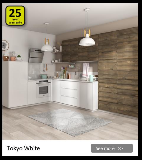 Explore the Delinia Tokyo White kitchen range. Be inspired.