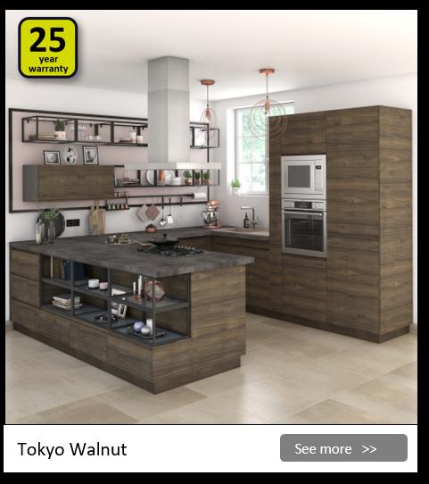Explore the Delinia Tokyo Walnut kitchen range. Be inspired.