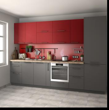 Delinia Sofia Red Designer Kitchen - Example 4