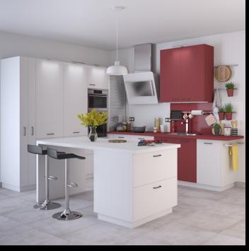 Delinia Sofia Red Designer Kitchen - Example 2