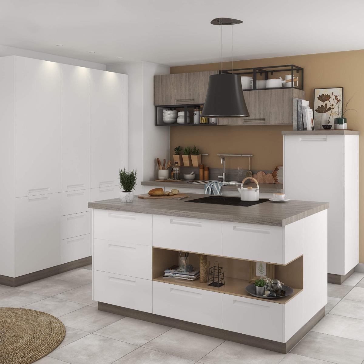 Delinia Evora White Designer Kitchen Mobi - Example 4