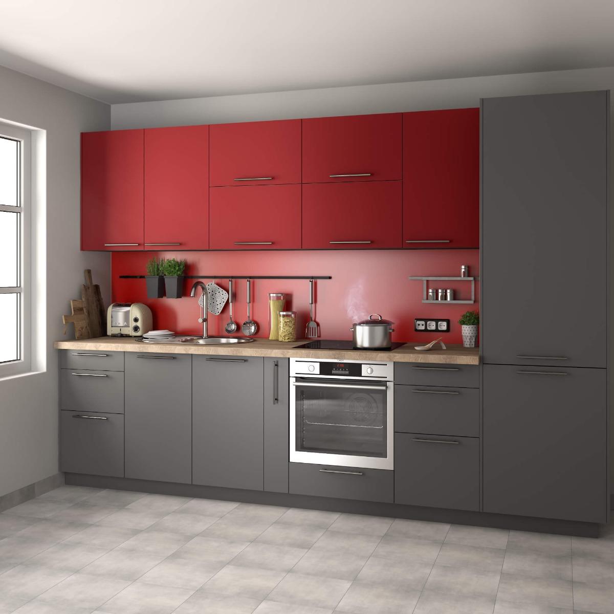 Delinia Sofia Red Designer Kitchen Mobi - Example 4
