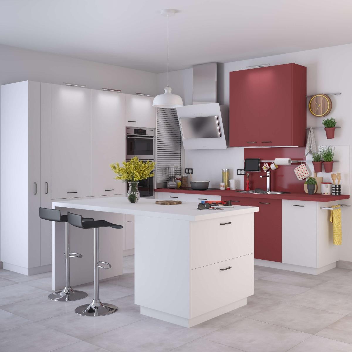 Delinia Sofia Red Designer Kitchen Mobi - Example 2