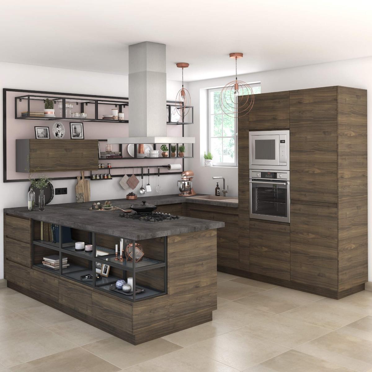 Delinia Tokyo Walnut Designer Kitchen Mobi - Example 1