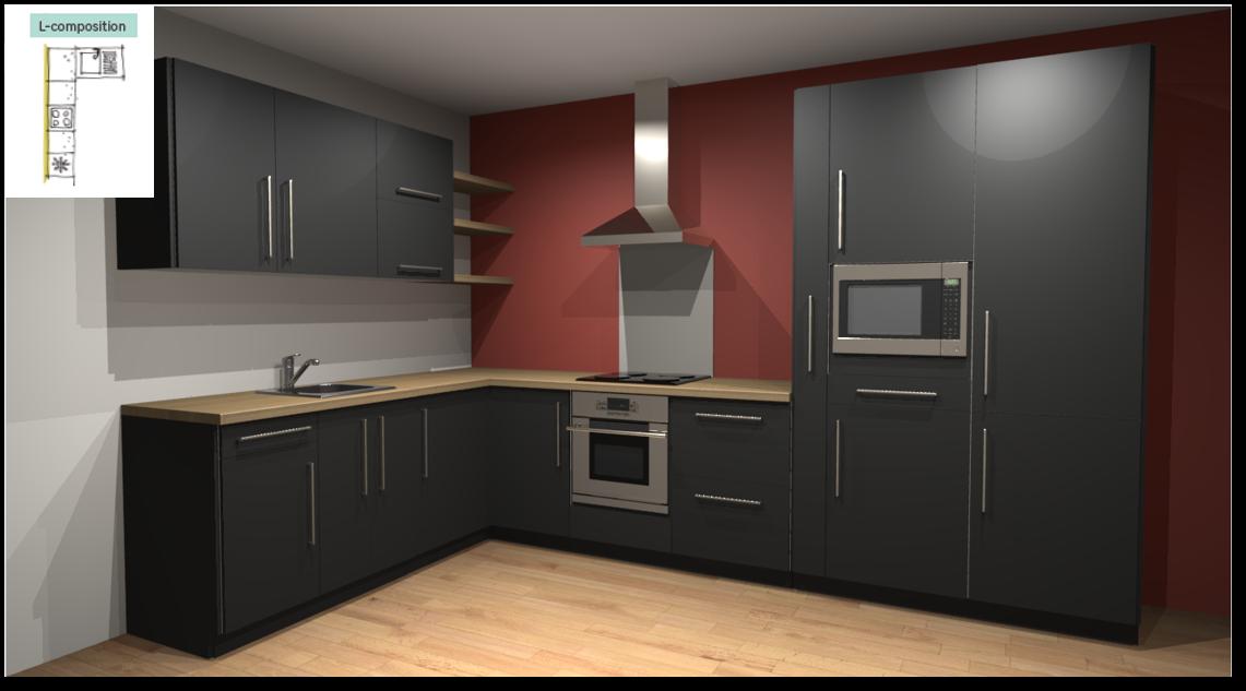Soho Black Inspirational kitchen layout examples - Example 2