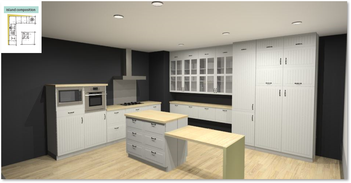 Toscane Inspirational kitchen layout examples - Example 6
