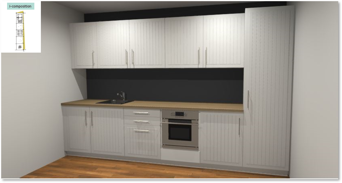 Toscane Inspirational kitchen layout examples - Example 1