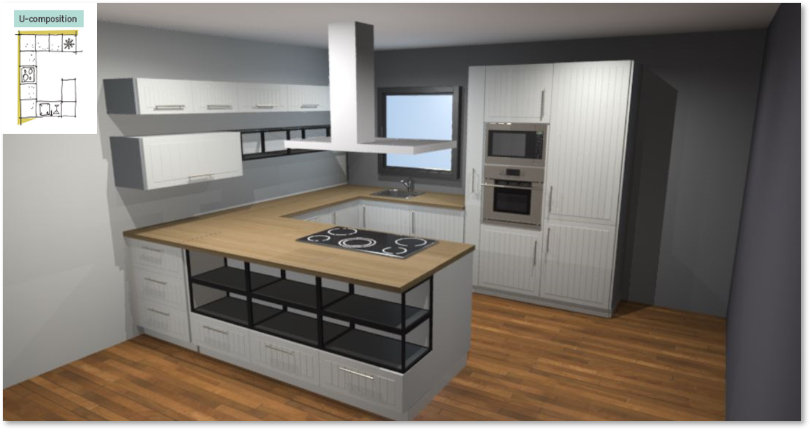 Toscane Inspirational kitchen layout examples - Example 3