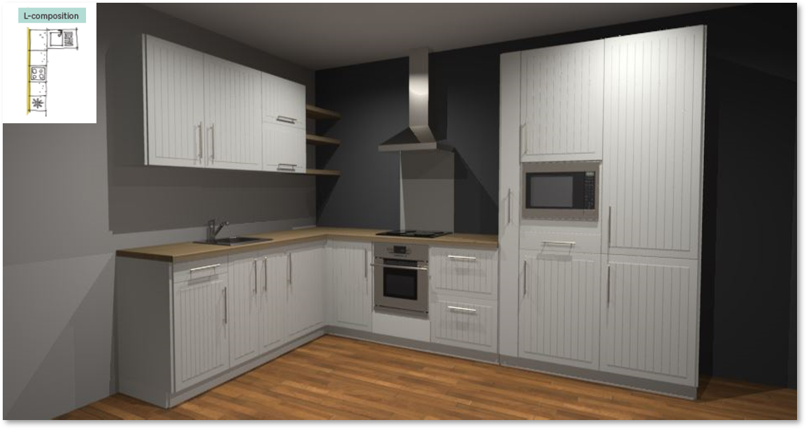 Toscane Inspirational kitchen layout examples - Example 2