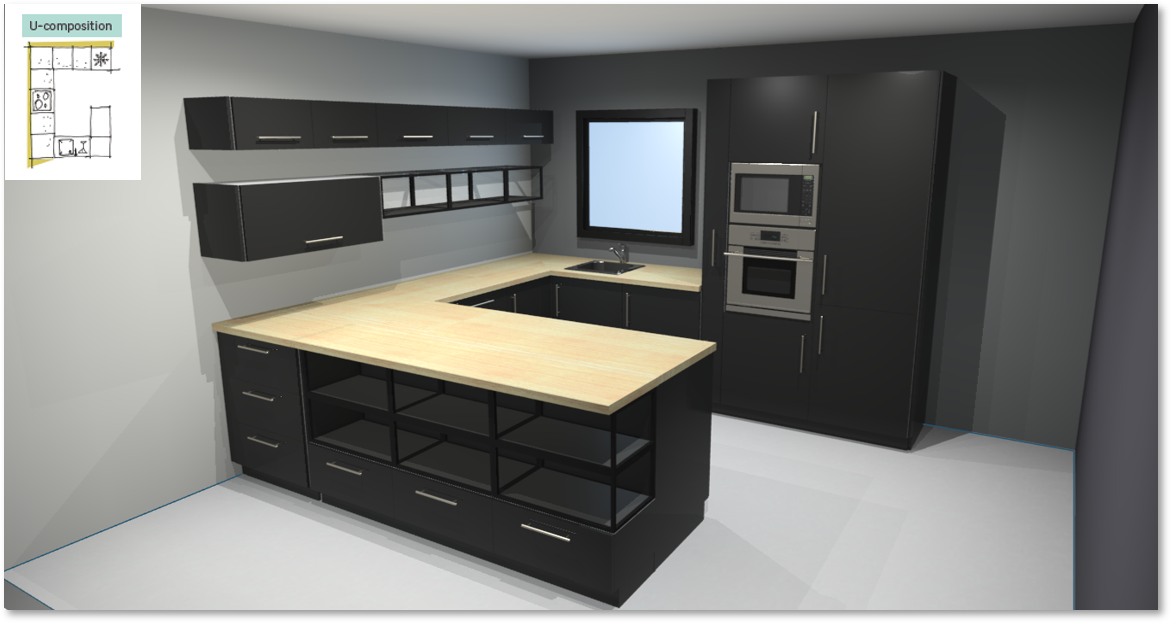 Sevilla Black Inspirational kitchen layout examples - Example 3