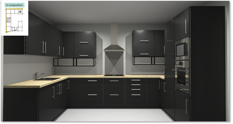 Sevilla Black Inspirational kitchen layout examples - Example 4