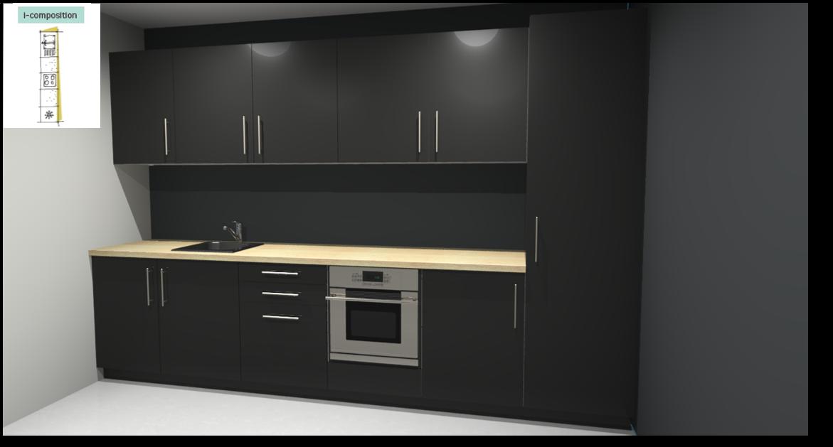 Sevilla Black Inspirational kitchen layout examples - Example 1