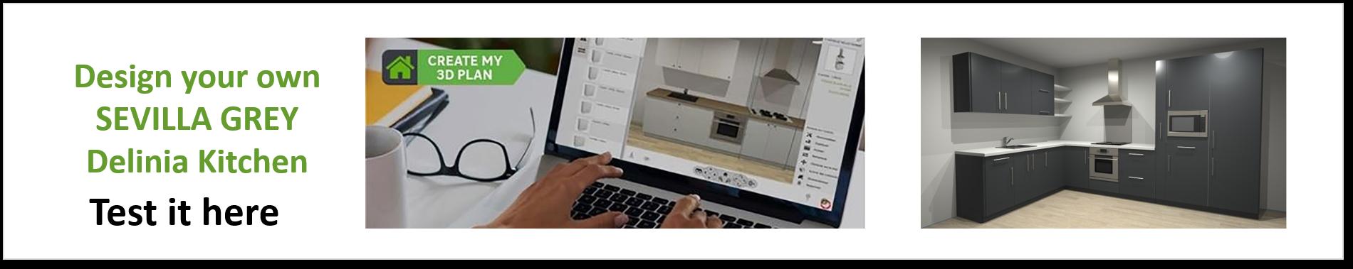 Create or Design your own Delinia Sevilla Grey Designer Kitchen