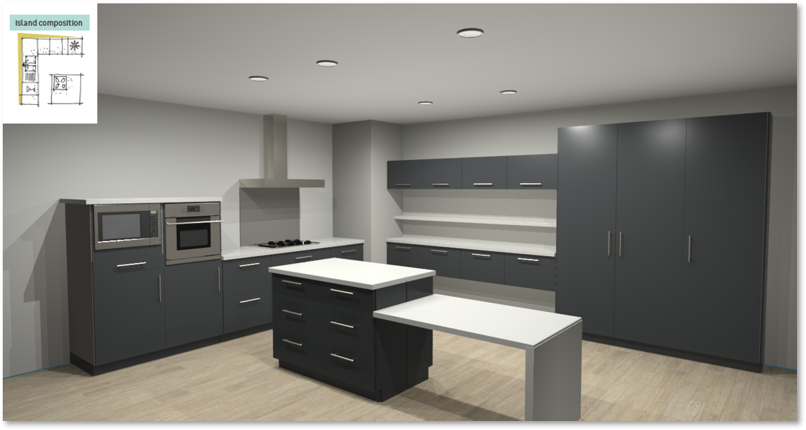 Sevilla Grey Inspirational kitchen layout examples - Example 6