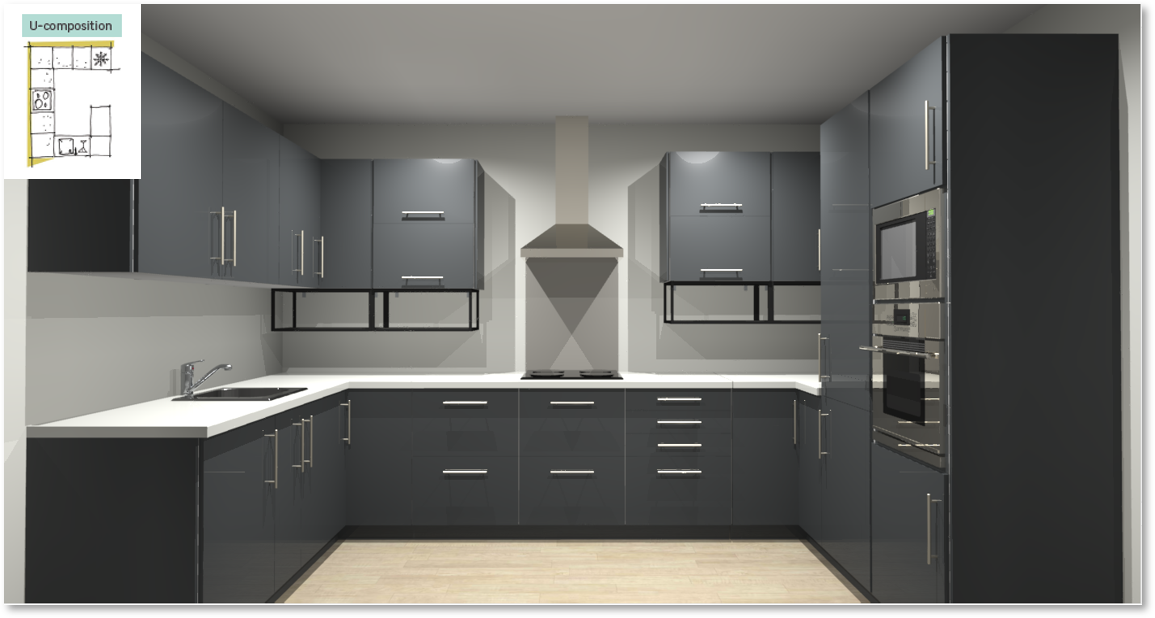 Sevilla Grey Inspirational kitchen layout examples - Example 4