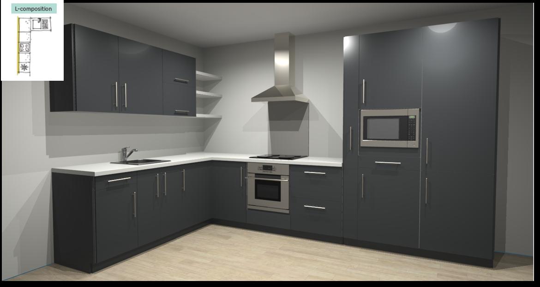 Sevilla Grey Inspirational kitchen layout examples - Example 2