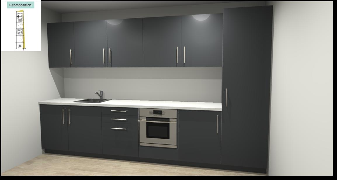Sevilla Grey Inspirational kitchen layout examples - Example 1